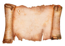 Old Torn Paper Scroll Isolated on a White Background Royalty Free Stock Images
