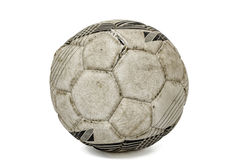 Old torn soccer ball, isolated on white background Stock Images