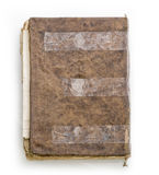 Old torn vintage book. Isolated on white background Stock Photo