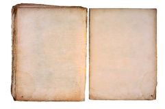 Old torned book open on both blank pages. Royalty Free Stock Photo