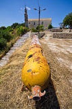 Old torpedo as monument in village - Corfu, Greece Stock Images