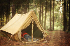 Old tourist tent and dead body in it Royalty Free Stock Photos