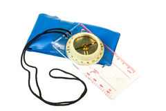 Old touristic compass isolated Royalty Free Stock Photos
