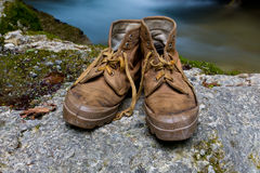 Old tourists boots Royalty Free Stock Photo