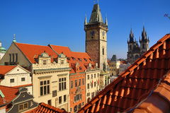 Old Towen Hall, The Astronomical Clock on Old Towen Square, Prague, Czech Republic Stock Photography