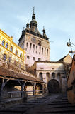 Old tower. An old tower guarding the entrance in the old citadel of Sighisoara, in Transylvania. The only citadel still inhabitated Royalty Free Stock Image