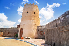 Old tower in the Abu Dhabi marina Royalty Free Stock Image