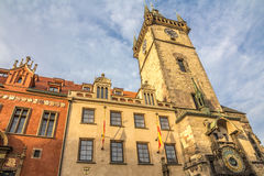 Old tower with astronomical clock in prague Royalty Free Stock Photo