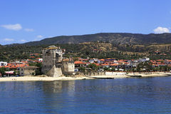 Old tower at the beach in Ouranoupoli Stock Photos