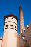 Old tower chimney and lantern on the wall Stock Photography