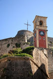 Old tower clock. In the entrance of a fort in corfu Stock Photography