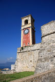 Old tower clock. In the entrance of a fort in corfu Royalty Free Stock Photos