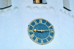 Old tower clock at the belfry of St Sophia cathedral in Veliky Novgorod, Russia Royalty Free Stock Photography