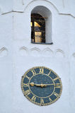 Old tower clock at the belfry of St Sophia cathedral in Veliky Novgorod, Russia Royalty Free Stock Photos