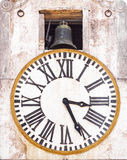 Old tower clock. And bell Royalty Free Stock Photo