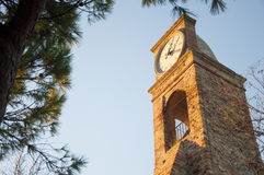 Old Tower with clock italy fiorenzuola Stock Photos