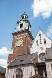 Old tower with clock and sky. Tower in Krakow, Poland stock photography