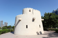 Old tower at the corniche park in Abu Dhabi Royalty Free Stock Photo