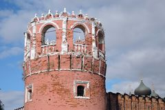 Old tower of Don Icon monastery in Moscow. Opular landmark. Color photo royalty free stock images