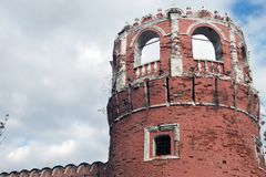 Old tower of Don Icon monastery in Moscow. Popular landmark. Color photo royalty free stock image