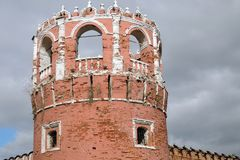 Old tower of Don Icon monastery in Moscow. Opular landmark. Color photo stock photo