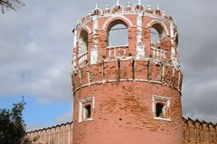 Old tower of Don Icon monastery in Moscow. Opular landmark. Color photo stock image