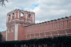Old tower of Don Icon monastery in Moscow. Popular landmark. Color photo royalty free stock photo