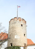 Old tower with flag in Mikulov Royalty Free Stock Images