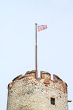 Old tower with flag in Mikulov Royalty Free Stock Photography