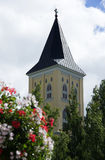 The old tower through flower bouquet and top of tree Stock Photos