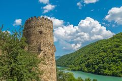 Old tower of the fortress. In Georgia royalty free stock images