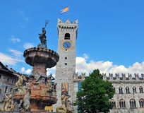 Old tower and fountain sculpture of Trento Stock Image