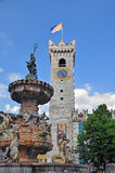 Old tower and fountain sculpture of Trento. Cathedral square, Italy Royalty Free Stock Photos