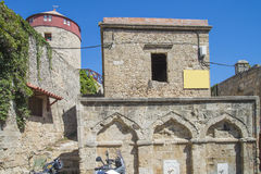 Old tower house in the old town of rhodes Royalty Free Stock Photos