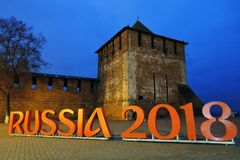 Old tower. Kremlin in Nizhny Novgorod, Russia. royalty free stock photos