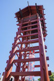 Old tower of Little Tokyo. Los Angeles, AUG 27: Old tower of Little Tokyo at Los Angeles, California, U.S.A Royalty Free Stock Image