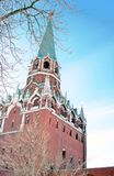 Old tower of Moscow Kremlin decorated by the ruby star. Stock Image