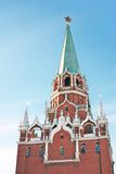 Old tower of Moscow Kremlin decorated by the ruby star. Royalty Free Stock Image