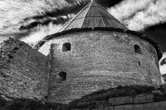 Old tower of Oreshek fortress.  Shlisselburg. Russia. Ancient Russian fortress on Nut Island at the source of the Neva River, opposite the town of Shlisselburg Stock Photography