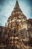 The old tower in the ruined ancient temple in Ayutthaya stock photos