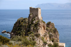 Old tower of Scopello, Sicily, Italy Stock Images
