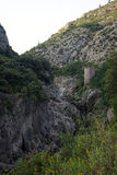 Old tower. Old stone tower in Herault river gorges, france royalty free stock photo