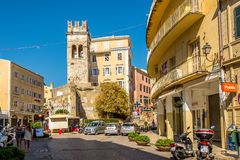 Old tower in the street of old city Corfu Royalty Free Stock Images