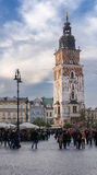 Old Tower With Stylish Big Clock.  Town Hall In City Center Of Krakow,Poland. Former  . Stock Photography