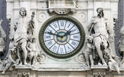 Old tower or wall clock in Paris city. France Stock Photo