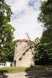 Old tower windmill in Holic, Slovakia, vertical composition. Old tower windmill in Holic, Slovak republic. Architectural theme. Cultural heritage. Beautiful Royalty Free Stock Images