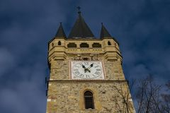 Old clock tower in the sky stock photography