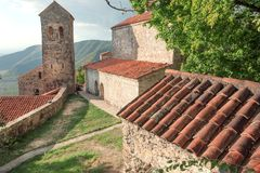Old towers and brick houses of the famous Orthodox church monastery in Alazani valley Royalty Free Stock Photos