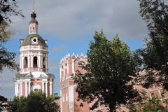 Old towers of Don Icon monastery in Moscow. Popular landmark. Color photo stock image