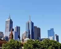 Old towers and modern skyscrapers Royalty Free Stock Images